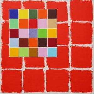 Minuetto rosso - Acrylique sur toile - 100x100cm - 2007.